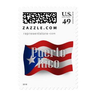 Bandera que agita de Puerto Rico Sello