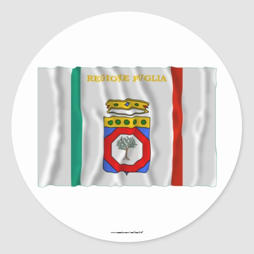 Bandera que agita de Puglia Pegatinas Redondas