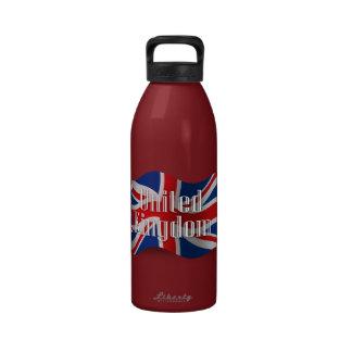 Bandera que agita de Reino Unido Botallas De Agua