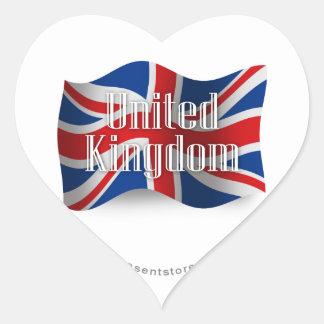 Bandera que agita de Reino Unido Pegatina En Forma De Corazón