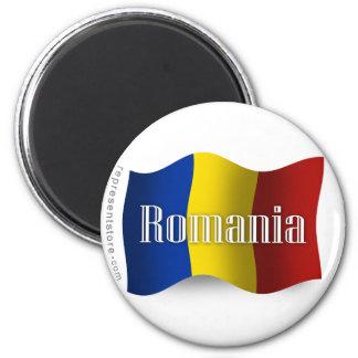 Bandera que agita de Rumania Imán Redondo 5 Cm