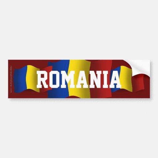 Bandera que agita de Rumania Pegatina Para Auto