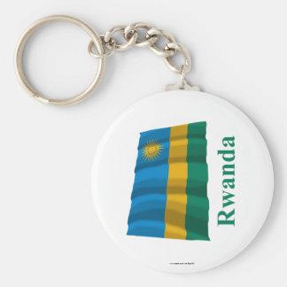 Bandera que agita de Rwanda con nombre Llaveros