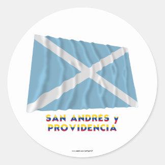 Bandera que agita de San Andrés y Providencia con Pegatina Redonda