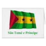 Bandera que agita de Sao Tome y de Principe con no Felicitación