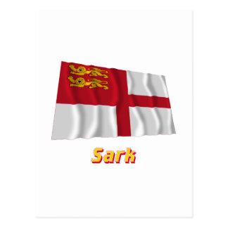 Bandera que agita de Sark con nombre Postales