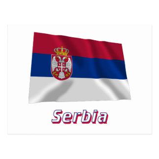 Bandera que agita de Serbia con nombre Postales