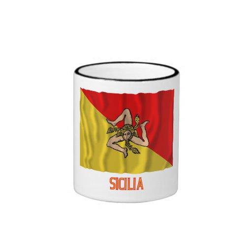 Bandera que agita de Sicilia con nombre Taza De Café