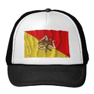Bandera que agita de Sicilia Gorros