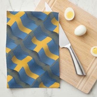 Bandera que agita de Suecia Toallas De Cocina