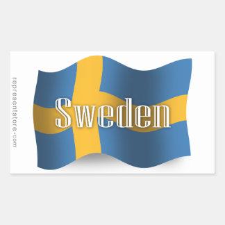 Bandera que agita de Suecia Pegatina Rectangular