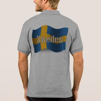 Bandera que agita de Suecia Camiseta Polo
