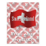 Bandera que agita de Suiza Invitación 10,8 X 13,9 Cm