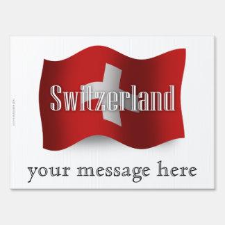 Bandera que agita de Suiza Letrero