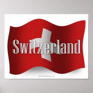 Bandera que agita de Suiza Poster