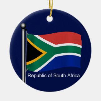 Bandera que agita de Suráfrica Adorno Navideño Redondo De Cerámica