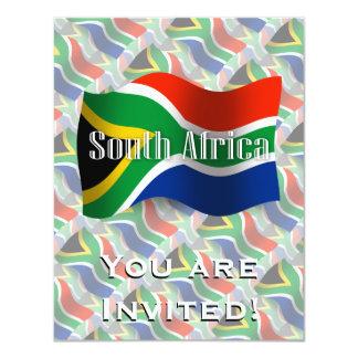 """Bandera que agita de Suráfrica Invitación 4.25"""" X 5.5"""""""