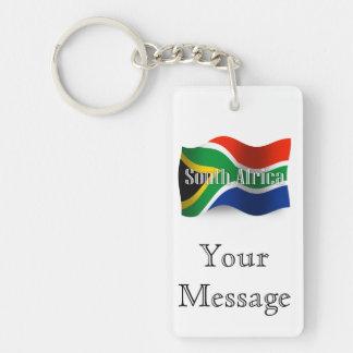 Bandera que agita de Suráfrica Llavero Rectangular Acrílico A Doble Cara