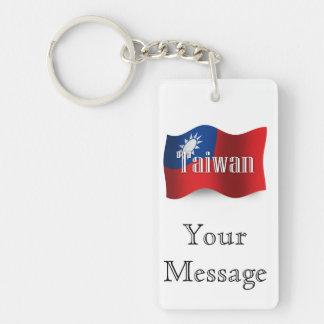 Bandera que agita de Taiwán Llavero Rectangular Acrílico A Doble Cara