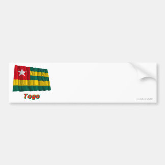 Bandera que agita de Togo con nombre Pegatina Para Auto