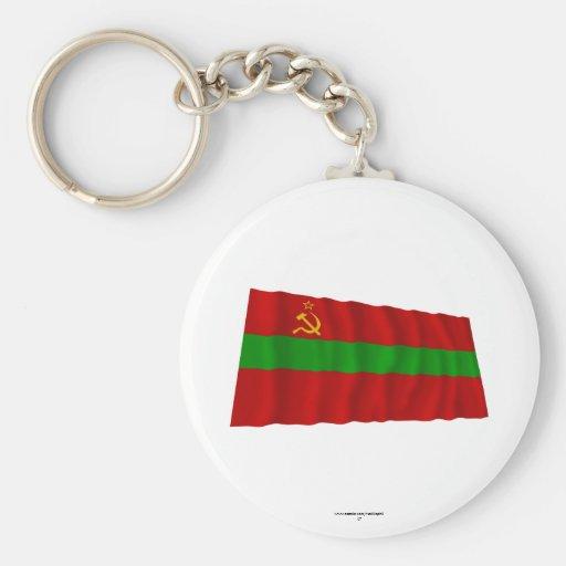 Bandera que agita de Transnistria Llavero Redondo Tipo Pin