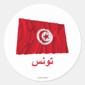 Bandera que agita de Túnez con nombre en árabe Pegatinas Redondas