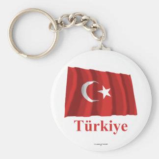 Bandera que agita de Turquía con nombre en turco Llaveros
