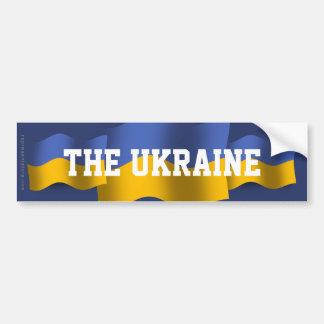 Bandera que agita de Ucrania Pegatina De Parachoque