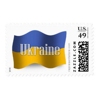 Bandera que agita de Ucrania Estampilla