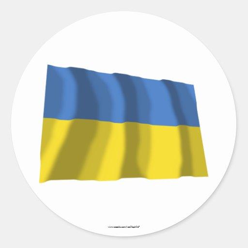 Bandera que agita de Ucrania Etiqueta Redonda