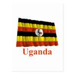 Bandera que agita de Uganda con nombre Tarjetas Postales