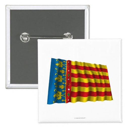 Bandera que agita de Valencia Pin Cuadrada 5 Cm