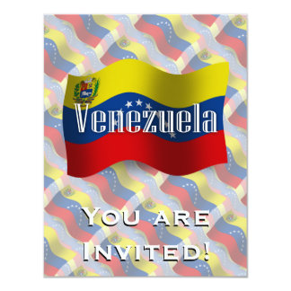 """Bandera que agita de Venezuela Invitación 4.25"""" X 5.5"""""""