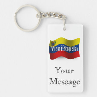 Bandera que agita de Venezuela Llavero Rectangular Acrílico A Doble Cara