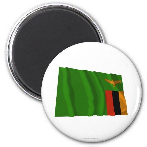 Bandera que agita de Zambia Imán De Frigorifico