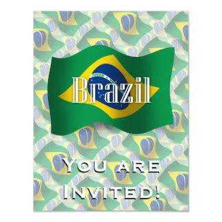 """Bandera que agita del Brasil Invitación 4.25"""" X 5.5"""""""