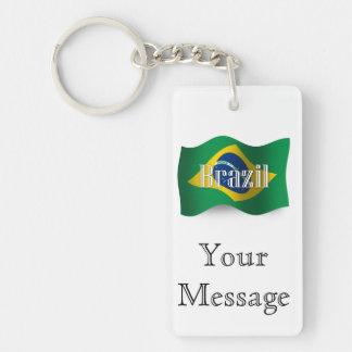 Bandera que agita del Brasil Llavero Rectangular Acrílico A Doble Cara