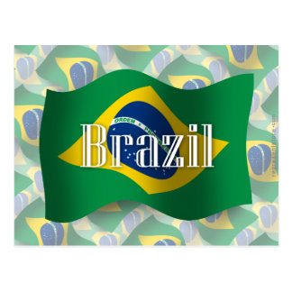 Bandera que agita del Brasil Postales