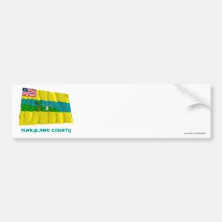 Bandera que agita del condado de Maryland con nomb Pegatina Para Auto