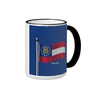 Bandera que agita del estado de Georgia Taza De Dos Colores