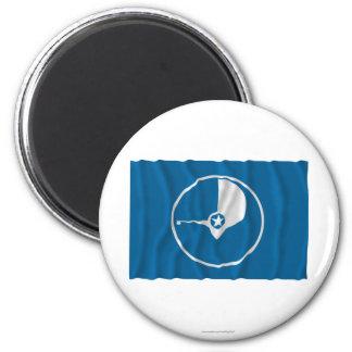 Bandera que agita del ladrido imán redondo 5 cm