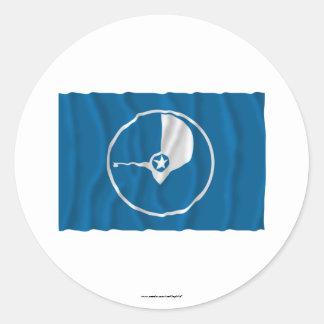 Bandera que agita del ladrido pegatina redonda