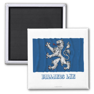 Bandera que agita del län de Hallands con nombre Imán Cuadrado