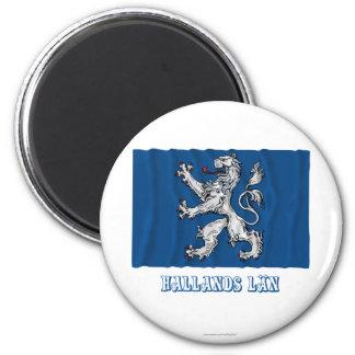 Bandera que agita del län de Hallands con nombre Imán Redondo 5 Cm