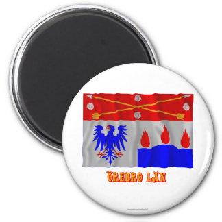 Bandera que agita del län de Örebro con nombre Imán Redondo 5 Cm