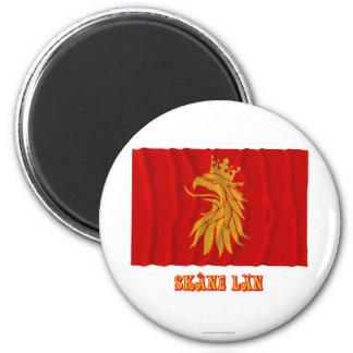 Bandera que agita del län de Skåne con nombre Imán Redondo 5 Cm