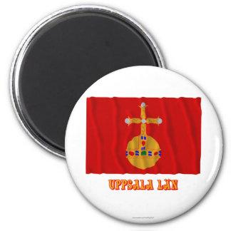 Bandera que agita del län de Uppsala con nombre Imán Redondo 5 Cm
