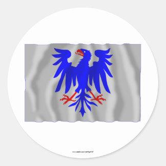 Bandera que agita del län de Värmlands Etiqueta Redonda