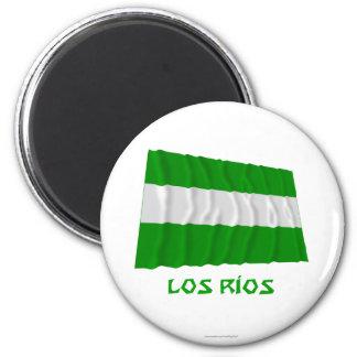 Bandera que agita del Los Ríos con nombre Imán Redondo 5 Cm