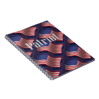 Bandera que agita del patriota de Estados Unidos Libro De Apuntes